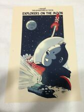 CARTE POSTALE TINTIN  HOMMAGE A HERGE PASTICHE tintin sur la lune
