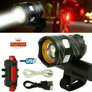 Rechargeable LED Mountain Bike Lights 15000LM Bicycle Torch Front &Rear Lamp Set
