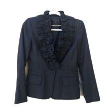 Ann Klein Size 2 Black Wool Blend Ruffled One Button Lined Blazer
