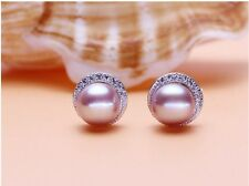Sterling Silver Purple Freshwater Pearl Micro Cubic Zirconia Stud Earrings J18