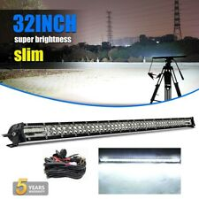 Dual Row 32INCH LED Light Bar 2040W Driving Offroad Flood Spot Combo /w Wiring