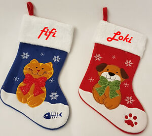 Personalised Embroidered Dog Puppy Cat kitten Pet stocking Xmas Gift Santa Gift