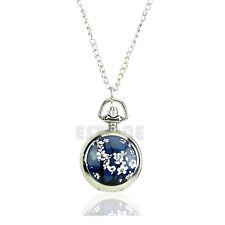 Retro Steampunk Plum Flower Pendant Necklace Chain Quartz Pocket Watch Gift