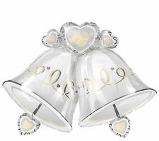 3ft Silver Bells & Heart Foil Helium Balloon Wedding Engagement Party Decoration