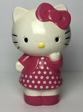 Hello Kitty Piggy Bank Ceramic Pink White Polka Dot Dress Bow Sanrio 2011 Euc