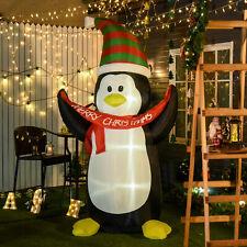 HOMCOM 243cm Inflatable Penguin & Christmas Banner Decoration Inner LED Lights