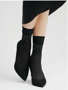 Lores avec motifs Nylon Socquettes Fleurs Noir OneSize