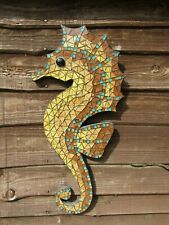 Fair Trade Hand Made Wooden Mosaic Large Seahorse Wall Art Hanging Plaque