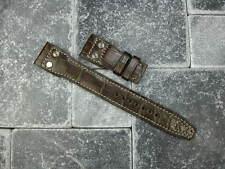 22mm Genuine Alligator Skin Leather Rivet Strap Brown Band IWC BIG PILOT Beige X