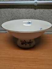 Lenox Pagoda Collection Blue Flowers Footed Bowl Compote
