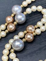 """Vintage Signed Monet Cream Grey Pink Pearl Beaded  Necklace Nice Lustre 36"""""""