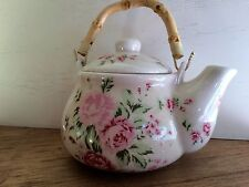 Decorative Crackled teapot with pink flowers (peonies) and bamboo wood handle