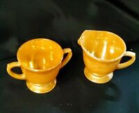 Peach Luster Ware Fire King Peach Iridescent Sugar And Creamer Leaf Pattern