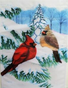 Winter Cardinals Standard House Flag by Evergreen, Colorfast , #3703