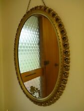 Original Vintage Ornate Gold Wall Hanging Oval Mirror 49cm X 37cm pickup only