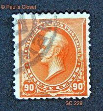 1890 US SC 229 90¢ OLIVER HAZARD PERRY USED NO GUM P12 HAND-CANCEL VF