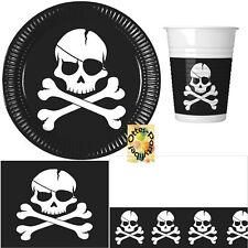 Pirates Black Skull Partyset 54tlg Teller Becher Servietten 2 Decken für 16 Kids