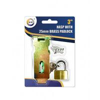 "3"" HASP & STAPLE Gate Door Shed Latch Lock With 25mm Brass Padlock + 2 Keys"