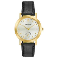 Bulova Women's Quartz Classic Black Leather Gold Tone Case 32mm Watch 97L159