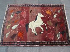 Vintage Traditional Hand Made Oriental Gabbe Wool Red Rug 141x101cm Animal Horse