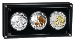 2021 LUNAR SERIES III YEAR OF THE OX 1oz SILVER TRIO $1 3-coin Set 3oz-total