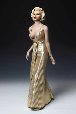 1/6 DIY Marilyn Monroe Female PH Figure Doll Gold Dress and Head Collection Toys