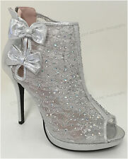 Women's Ankle Pumps Mesh Lace Rhinestone Peep Toe High Heel Zipper Party Shoes