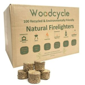 Natural Firelighters - 100 RECYCLED Wood ECO Natural Fire Starter
