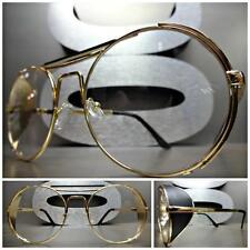 CLASSIC VINTAGE 50's RETRO BLINDER Style Clear Lens EYE GLASSES Round Gold Frame