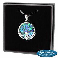 "Celtic Claddagh Necklace Paua Abalone Shell Pendant Silver Fashion Jewellery 18"""