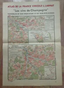 WINE MAP CHAMPAGNE - BAR SEQUANAIS- FRANCE 1944 by LARMAT LARGE ANTIQUE MAP