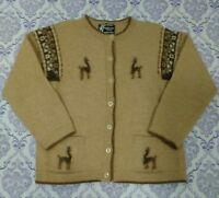 Girls Baby Alpaca Cardigan Sweater Sz M 7-8 Cute Llamas Beige Awak Maqui Peru