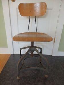 Vintage Industrial Bentwood Toledo Drafting Chair Adjustable Swivel