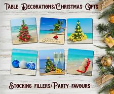 Beach Drink Coasters x 6 - Christmas Gift - Grips - Absorbent