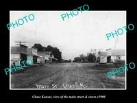 OLD LARGE HISTORIC PHOTO OF CHASE KANSAS, THE MAIN STREET & STORES c1900