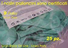 """PALLONCINI VERDE ACQUA MARINA 25 Pz. 26 cm diam 9-10"""" PARTY FESTA Puro Lattice"""