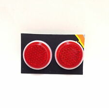 """TWO (2) SUNLITE 1"""" Mini Red ReflectorS w/ Wing Nut Bike Bicycle Safety NEW"""
