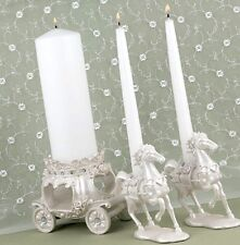 Disney-inspired Pearl Cinderella Fairy Tale Horse Carriage Wedding Candle Stands