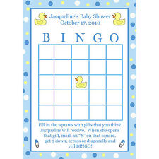 24 Personalized Baby Shower BINGO Cards - Blue Rubber Ducky