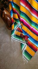 Serape Mexican Blanket Yellow with Rainbow colors stripes & white fringe XL