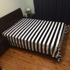 Super Soft Queen Size Faux Mink Fur Blanket - Navy Blue Stripe