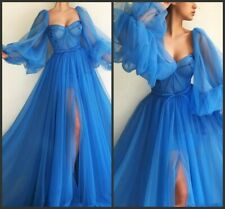 Blue Tulle Long Sleeve Formal Prom Dresses Split African Evening Party Ball Gown