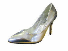 F9659- Ladies Slip On Pointed Toe Silver Court Shoes- Great Shoes