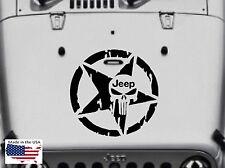 QUALITY PUNISHER SKULL Hood Door Window Vinyl Decal 3 size (Fits Jeep Wrangler)