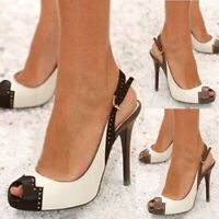 Womens High Heels Slingback Pumps Peep Toe Stiletto Sandals Dress Shoes Stiletto