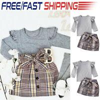 Toddler Baby Girl Long Sleeve Ruffled Tops Plaid Skirt Dress Outfits Set