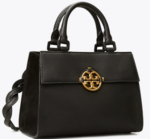 Tory Burch Miller Top Handle Black Leather Bag Authentic New