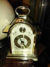 Vintage Mini Bulova Tempus Fugit Brass Carriage Style Alarm Clock W/Handle