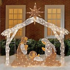 Lighted Nativity Scene Outdoor 250 Acrylic Lights Christmas Yard / Indoor NEW