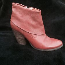 NINE WEST rusted-red leather ankle boots , s.38.